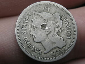 1867 THREE 3 CENT NICKEL  GOOD/VG DETAILS