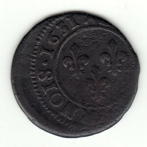 FRENCH COLONIAL 1631 D LOUIS XIII COPPER DOUBLE TOURNOIS OFF CENTER