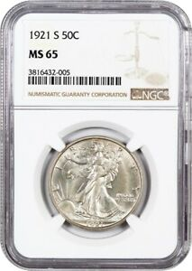 Click now to see the BUY IT NOW Price! 1921 S 50C NGC MS65   KEY DATE   WALKING LIBERTY HALF DOLLAR   KEY DATE