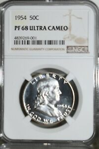 Click now to see the BUY IT NOW Price! 1954 FRANKLIN PROOF HALF DOLLAR NGC PF 68 ULTRA CAMEO PR 68 DCAM