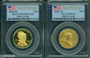 Click now to see the BUY IT NOW Price! 2011 W $10 GOLD SPOUSE JULIA GRANT PCGS PR70 PF70 & MS70 2 COIN SET FIRST STRIKE