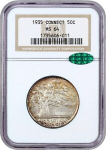 1935 CONNECTICUT 50C NGC/CAC MS64   SILVER CLASSIC COMMEMORATIVE