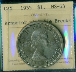 Click now to see the BUY IT NOW Price! 1955 ARNPRIOR W/DB CANADA QUEEN ELIZABETH II SILVER DOLLAR ICCS CERTIFIED MS 63