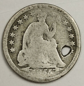 1855 LIBERTY SEATED HALF DIME.  HOLED DETAIL.  132548