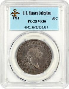 1795 50C PCGS VF30  2 LEAVES    BUST HALF DOLLAR   DESIRABLE 2 YEAR TYPE COIN