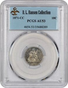 Click now to see the BUY IT NOW Price! 1871 CC 10C PCGS AU53   LIBERTY SEATED DIME    ISSUE
