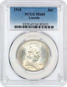 1918 LINCOLN ILLINOIS 50C PCGS MS65   SILVER CLASSIC COMMEMORATIVE