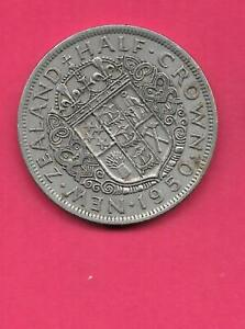 NEW ZEALAND KM19 1950 VF VERY FINE NICE OLD ANTIQUE 1/2 CROWN LARGE  COIN