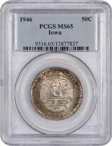 1946 IOWA 50C PCGS MS65   SILVER CLASSIC COMMEMORATIVE