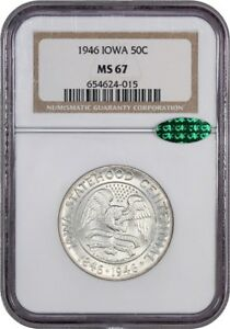 1946 IOWA 50C NGC/CAC MS67   SILVER CLASSIC COMMEMORATIVE