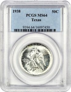 1938 TEXAS 50C PCGS MS64   LOW MINTAGE ISSUE   SILVER CLASSIC COMMEMORATIVE
