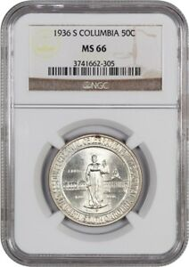 1936 S COLUMBIA 50C NGC MS66   LOW MINTAGE ISSUE   SILVER CLASSIC COMMEMORATIVE