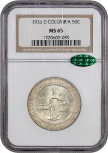 1936 D COLUMBIA 50C NGC/CAC MS65   LOW MINTAGE ISSUE   LOW MINTAGE ISSUE
