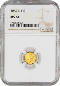 Click now to see the BUY IT NOW Price! 1852 D G$1 NGC MS61   DESIRABLE QUARTER EAGLE   1 GOLD COIN