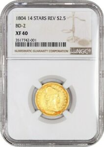 Click now to see the BUY IT NOW Price! 1804 2 1/2 NGC XF40  14 STAR REVERSE BD 2   EARLY QUARTER EAGLE