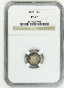 Click now to see the BUY IT NOW Price! 1871 3CS NGC PR 67   3 CENT SILVER   BEAUTIFULLY TONED ULTRA GEM