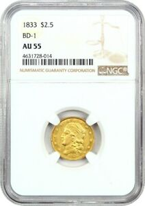Click now to see the BUY IT NOW Price! 1833 2 1/2 NGC AU55  BD 1  RARRE EARLY QUARTER EAGLE   2.50 EARLY GOLD COIN