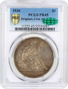 Click now to see the BUY IT NOW Price! 1836 GOBRECHT $1 PCGS/CAC PR 45  ORIGINAL COIN ALIGNMENT