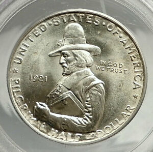 Click now to see the BUY IT NOW Price! 1921 PILGRIM ON MAYFLOWER COMMEMORATIVE SILVER US HALF DOLLAR COIN PCGS I76446