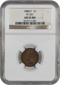 Click now to see the BUY IT NOW Price! 1888/7 1C NGC AU55 BN  FS 301   OVERDATE   INDIAN CENT    OVERDATE