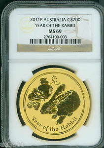 Click now to see the BUY IT NOW Price! 2011 P $200 G$200 AUSTRALIA LUNAR RABBIT  2 OZ. GOLD NGC MS69 ZODIAC