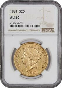 Click now to see the BUY IT NOW Price! 1881 $20 NGC AU50    ISSUE   LIBERTY DOUBLE EAGLE   GOLD COIN    ISSUE