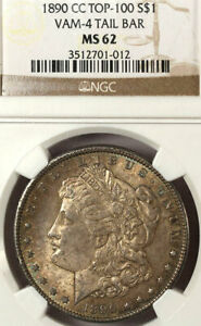 Click now to see the BUY IT NOW Price! 1890 CC $1 TAILBAR VAM 4 MS62 NGC RAINBOW COLOR  MORGAN DOLLAR