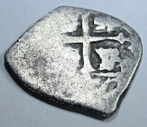 1600S SPANISH SILVER 1/2 REALES PIECE OF 8 REAL ANTIQUE US COLONIAL ERA COB COIN