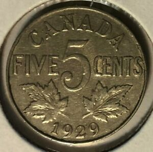 1929 NEAR S   CANADA NICKEL  5 CENTS    GEORGE V   F12 CONDITION