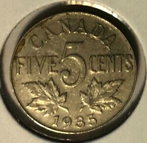 1935   CANADA NICKEL  5 CENTS    GEORGE V   F12 CONDITION