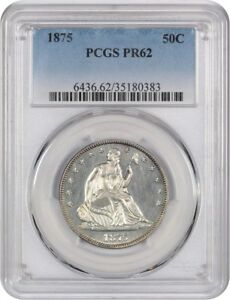 1875 50C PCGS PR 62   LIBERTY SEATED HALF DOLLAR