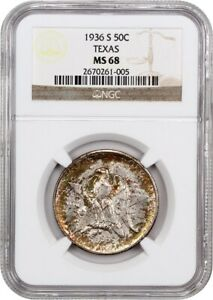 Click now to see the BUY IT NOW Price! 1936 S TEXAS 50C NGC MS68   LOW MINTAGE ISSUE   SILVER CLASSIC COMMEMORATIVE