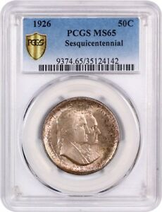 Click now to see the BUY IT NOW Price! 1926 SESQUICENTENNIAL 50C PCGS MS65   RUSSET ROSE TINTS   RUSSET ROSE TINTS