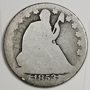1853 O SEATED LIBERTY HALF.  ERROR.  LARGE STARS.  THICK DATE.   103555