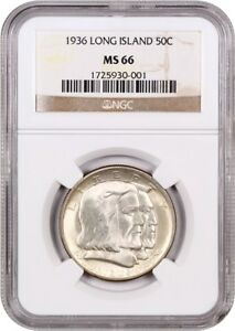 1936 LONG ISLAND 50C NGC MS66   SATIN LUSTER   SILVER CLASSIC COMMEMORATIVE