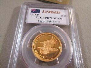 Click now to see the BUY IT NOW Price! 2014 P AUSTRALIAN WEDGE TAILED EAGLE HR 1 OZ GOLD PROOF PCGS PR70DCAM MERCANTI