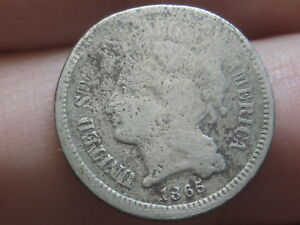 1865 THREE 3 CENT NICKEL  OLD TYPE COIN