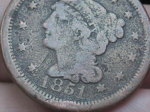 1851 BRAIDED HAIR LARGE CENT PENNY  VG DETAILS