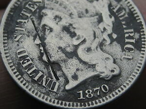 1870 THREE 3 CENT NICKEL  LOW MINTAGE DATE
