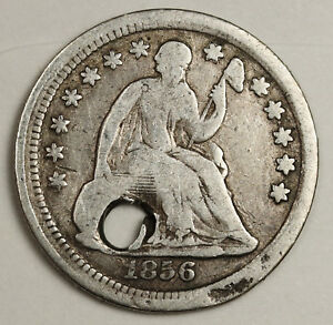 1856 LIBERTY SEATED HALF DIME.  HOLED DETAIL.  132549