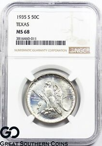 Click now to see the BUY IT NOW Price! 1935 S TEXAS COMMEMORATIVE HALF DOLLAR PCGS MS68    WHOLESALE BID: $10 000