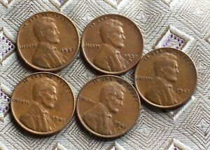 1937P/D 1941P/S 1942P LINCOLN WHEAT CENT'S   5 COIN'S      ITM8486