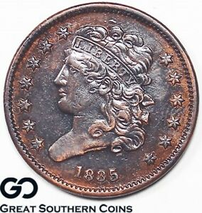 1835 HALF CENT CLASSIC HEAD CHOICE AU COPPER HINTS OF RED REV. DIE BREAK