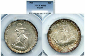 Click now to see the BUY IT NOW Price! 1920 50C PILGRIM MS66 PCGS SILVER COMMEMORATIVE