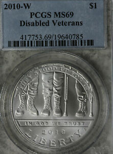2010 W DISABLED VETERANS COMMEMORATIVE SILVER DOLLAR   PCGS MS69
