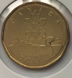 2004   CANADA   1 DOLLAR   OLYMPIC FLAMES LUCKY LOONIE   BU/UNC   FROM RCM ROLL