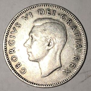 1949   CANADA 25 CENTS   GEORGE VI    F 12 CONDITION   CLEARANCE PRICED