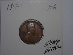 WHEAT PENNY 1917S LINCOLN CENT 1917 S SHARP DETAILS LOT 6