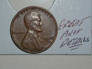 WHEAT PENNY 1939S NICE LINCOLN CENT 1939 S AU /MS  DETAILS