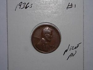 WHEAT PENNY 1936S LINCOLN CENT 1936 S HIGH GRADE AU DETAILS LOT 1
